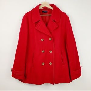Lands End Red Wool Peacoat 14 Coat Jacket Winter